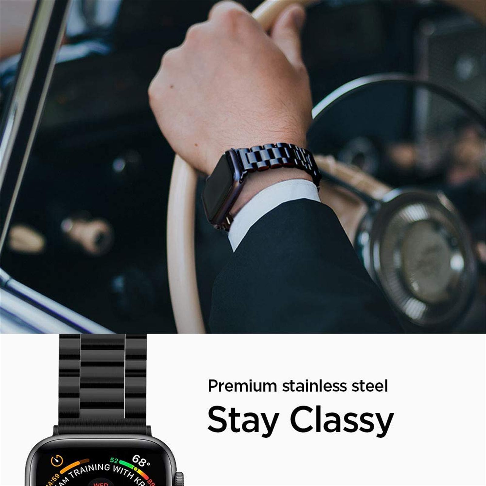 Buy the Spigen Apple Watch 44mm/42mm Premium Stainless Steel Strap - Black,... ( 062MP25403 ) online - PBTech.co.nz
