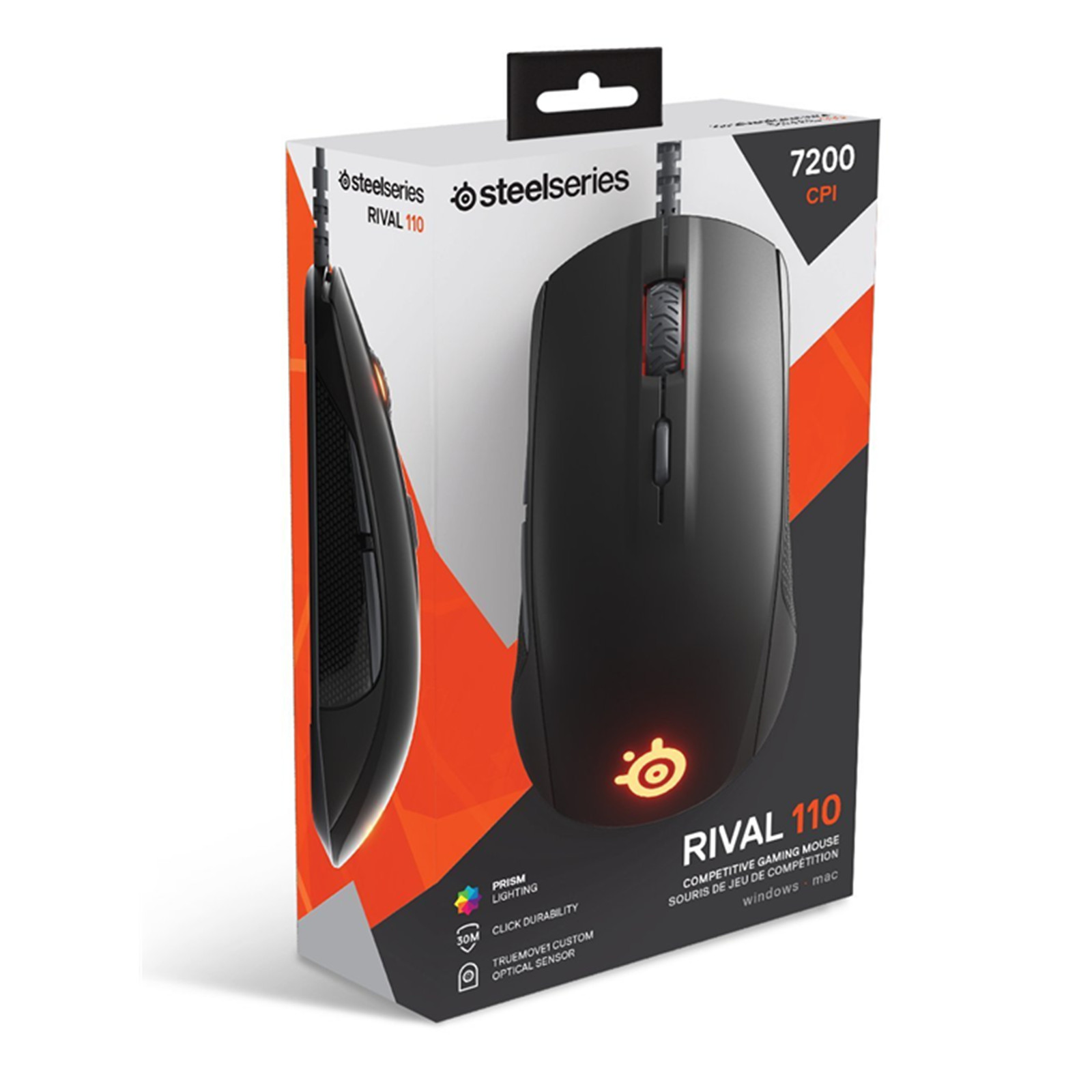 7489a3a2a86 Steelseries Rival 110 Optical Gaming Mouse - Black, Custom TrueMove1, 7,200  CPI, 240 IPS, Prism RGB