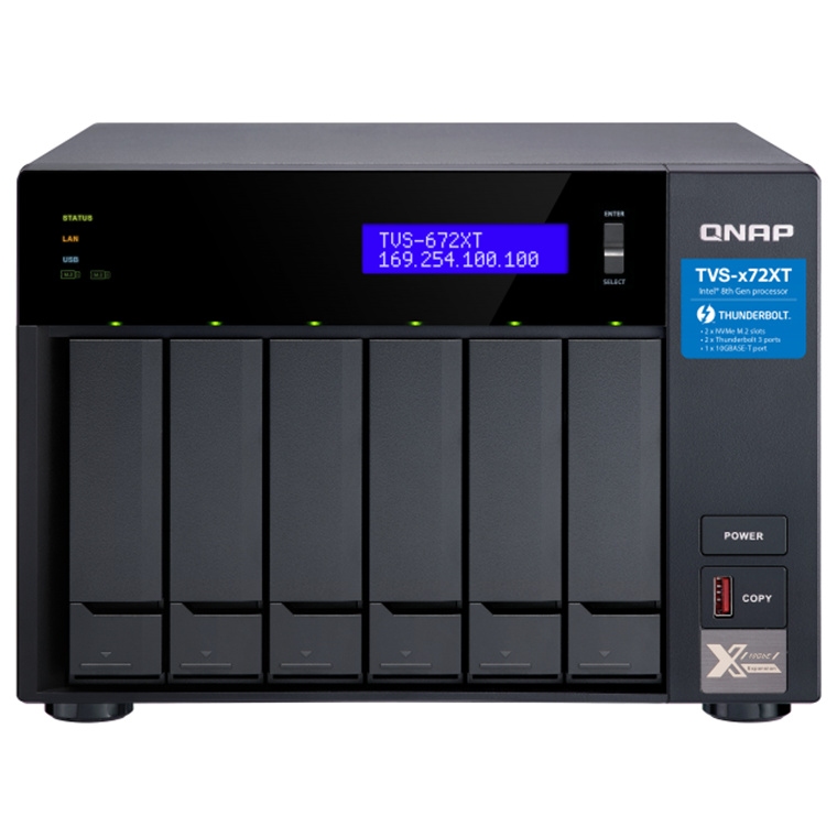 Buy the QNAP TVS-672XT-i3-8G Tower, 6-Bay NAS Server, 6x 3 5