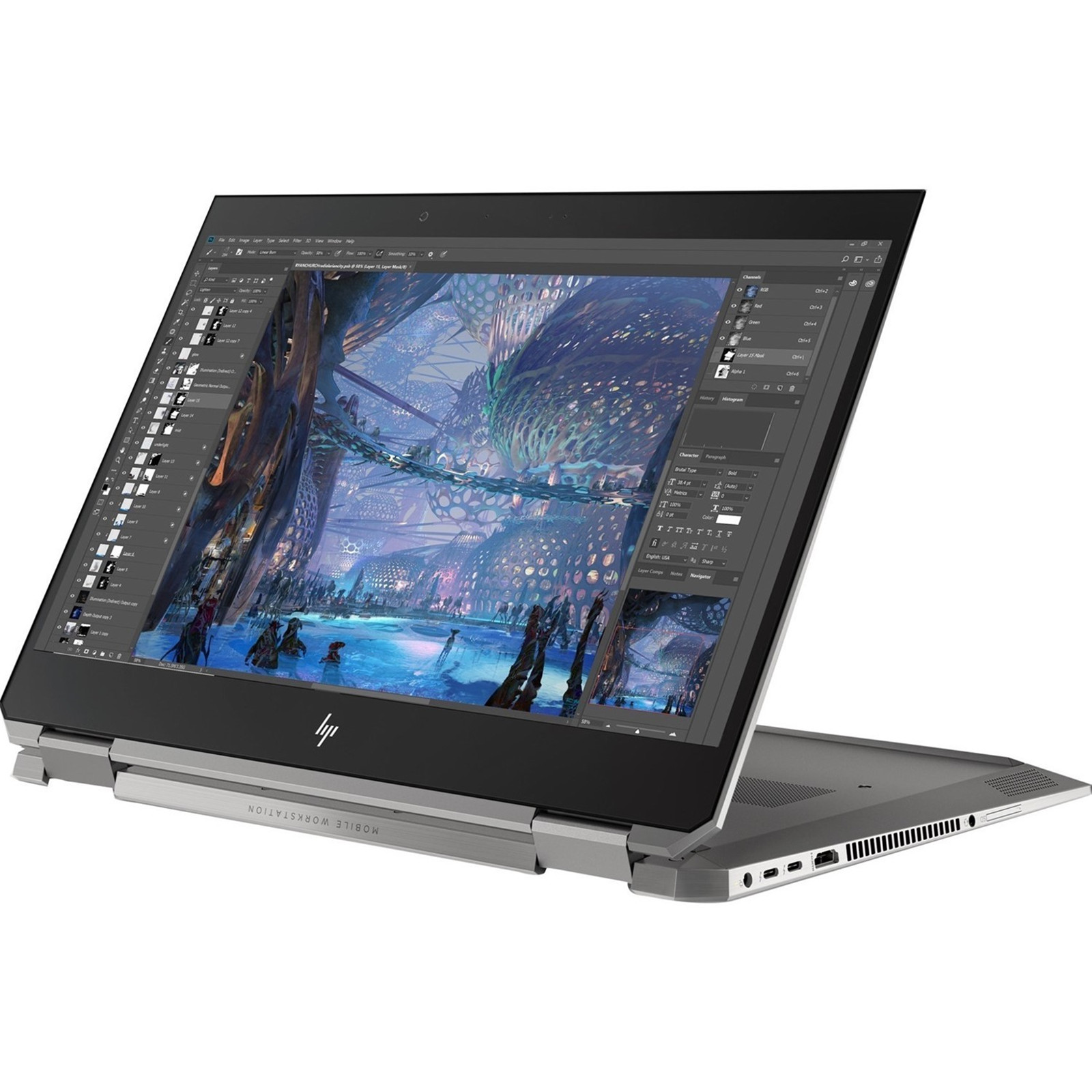 "HP Zbook Studio x360 G5 4G LTE 2in1 Mobile Workstaion 15 6"" FHD Touchscreen Intel i7 8550H 32GB 2TB SSD NO DVD Quadro P1000 4GB Graphics Win10Pro 64bit 3yr"