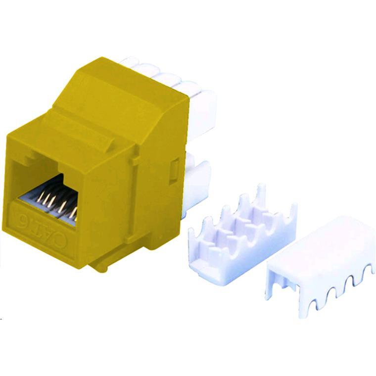dynamix fp-c6-yellow cat6 yellow keystone rj45 jack for 110 face plate  t568a/t568b wiring  180 slimline jack