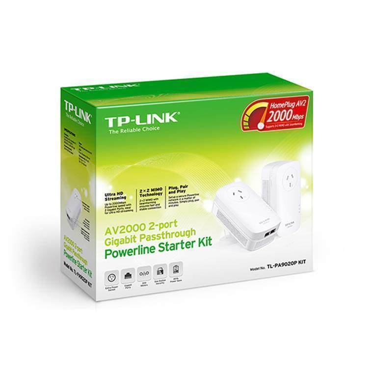 Buy the TP-Link TL-PA9020P KIT AV2000 Powerline Kit with AC  Pass-Through,    ( TL-PA9020PKIT ) online