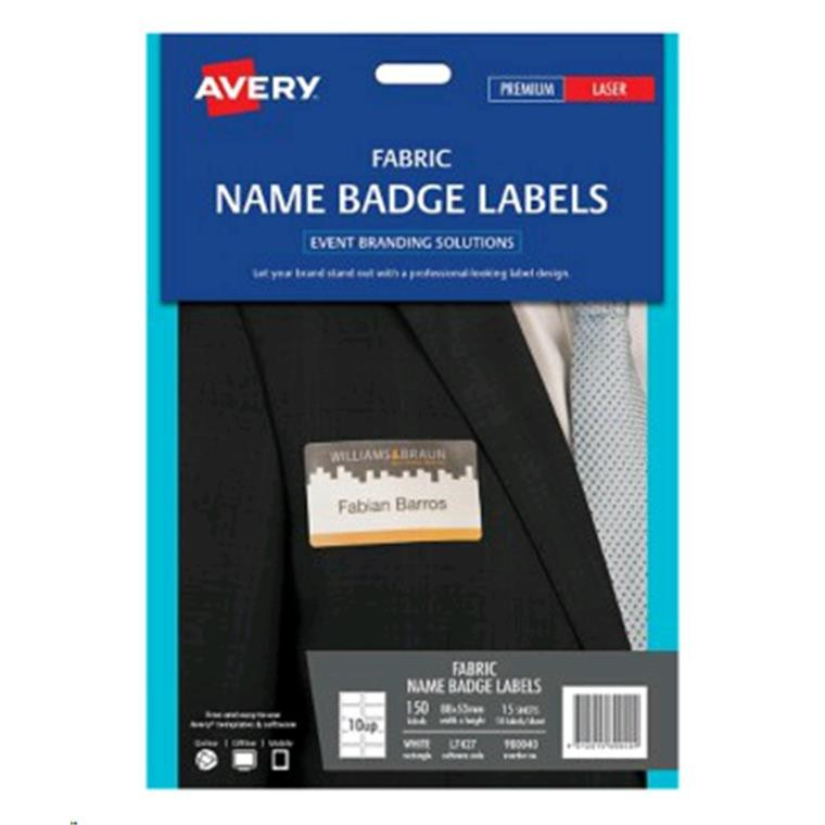 buy the avery fabric name badge l7427 laser 10 up 15 shts 88x52mm