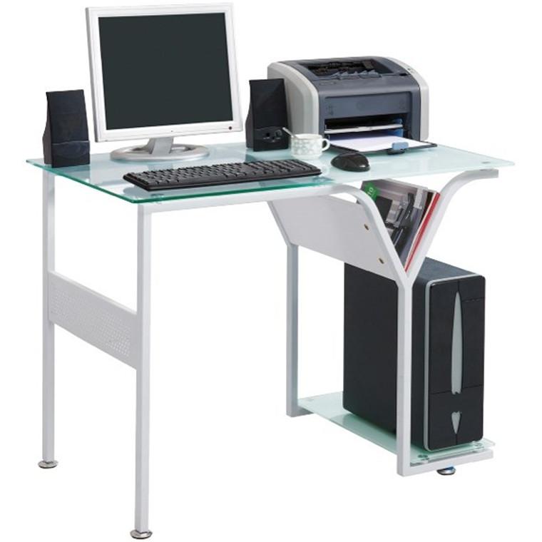 Sunteam Computer Desk Glass Top White
