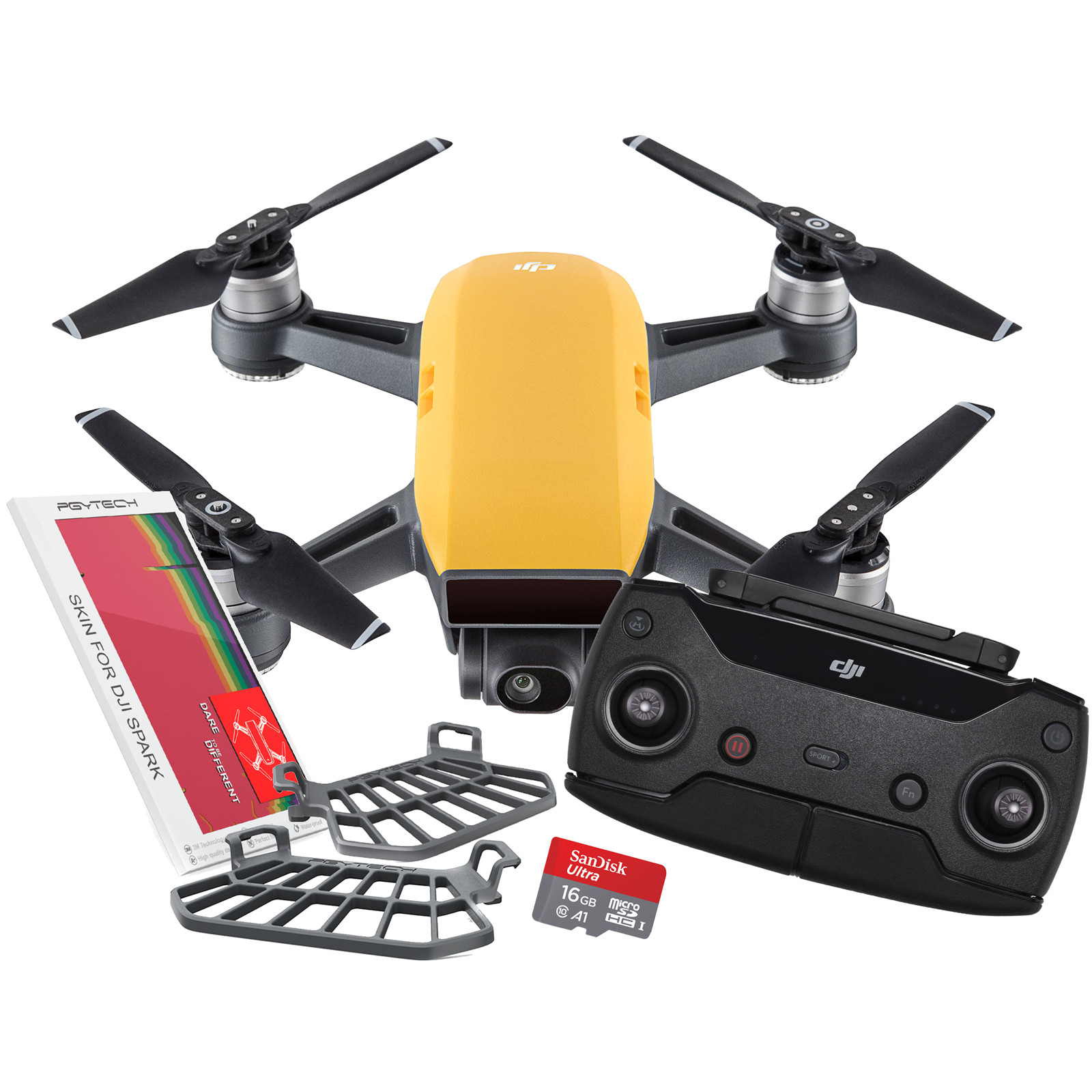 Buy The Dji Spark Drone Sunrise Yellow With Remote Controller Meadow Green Bonus Value Pack 16gb Micro Sd Colourful Skin Set For Hand Guard