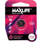 Maxlife BAT1616 CR1616 Lithium Coin Button Cell  Battery. 1Pk. 3Volt Capacity: 45mAhSize: 16 x 1.5mm Replacement for: BR1616, DL1616, ECR1616