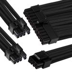 GGPC Gaming PC Braided Cable Kit Pack, (Black, 40cm) Includes 1 x 20+4 Pin, 2 x 6+2 Pin, 1 x 4+4 Pin Cables