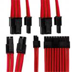 GGPC Gaming PC Braided Cable Kit Pack, (Red, 40cm) Includes 1 x 20+4 Pin, 2 x 6+2 Pin, 1 x 4+4 Pin Cables