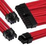 GGPC Braided Cable Power Extension Cable Kit Pack (Red) (40cm) Includes 1 x 20+4 Pin, 2 x 6+2 Pin, 1 x 4+4 Pin Cables