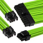 GGPC Braided Cable Power Extension Cable Kit Pack (Green) (40cm) Includes 1 x 20+4 Pin, 2 x 6+2 Pin, 1 x 4+4 Pin Cables