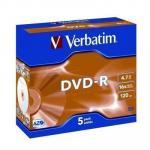 Verbatim 95070 DVD-R 5pk Jewel Case 4.7GB 16x in Jewel Case w/Adv Azo recording dye