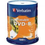 Verbatim 95153 DVD-R 100Pk Spindle white InkJet Printable 4.7GB 16x