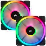 Corsair LL Series LL140 RGB Dual Light Loop PWM Fan 140mm Dual Pack with Lighting Node Pro Controller