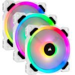 Corsair LL Series LL120 RGB Dual Light Loop PWM Fan 120mm 3 FAN Pack with Lighting Node Pro Controller, WHITE