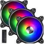 Lian Li Bora Digital Addressable RGB PWM 120mm PWM Fan,  With Controller,  3 Pack.  Black