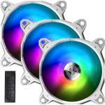Lian Li Bora Digital Addressable RGB PWM 120mm PWM Fan,  With Controller,  3 Pack.  Silver