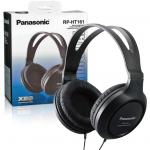 Panasonic RP-HT161 Over-Ear Headphones - Black - Full size, closed-type monitor headphones, Large, soft ear-pads for comfortable listening 2 metre cord, 3.0cm driver units