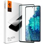 Spigen Galaxy S20 FE 5G Full Coverage Premium Curved Tempered Glass Screen Protector, Black Durable 9H Screen Hardness, Rounded Edges, Delicate Touch, Compatible with Spigen Phone Case, AGL02200