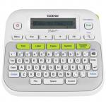 Brother PTD210 Label Maker Thermal Transfer - 20 mm/s Mono - 180 dpi - Label, Tape - 3.50 mm, 6 mm, 9 mm, 12 mm - LCD Screen - Battery, Power Adapter - 6 Batteries Supported - AAA - White, Grey - Handheld, Desktop