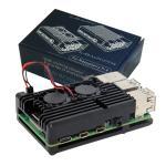 Raspberry Pi 4 Model B Black Armour Aluminium Case with 2 x Ultra Silence Fans