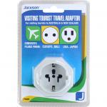 Jackson PTA929 1 Outlet Travel Adaptor with Surge Protection. Converts USA & Asian Plugs for use in NZ & Aust Ideal For Use With Portable Electronic Devices