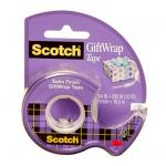 3M 70005155646 Scotch Giftwrap Tape 15, 3/4 in. x 650 in. with Dispenser, 1 in. Core, 1 Roll with Refillable Dispenser