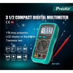 ProsKit MT-1210 3 1/2 Compact Digital Multimeter Lcd Back Light Data Hold Transistor HFE Test / 2 Years Warranty